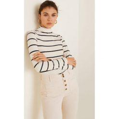 Mango - Bluzka Olivia. Szare bluzki z golfem Mango, l, z bawełny, casualowe. Za 79,90 zł.