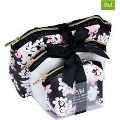 Kosmetyczki damskie: Kosmetyczki (3 szt.) w kolorze czarno-srebrno-jasnoróżowym