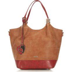 Torebka damska 87-4Y-751-5. Brązowe shopper bag damskie Wittchen, w geometryczne wzory. Za 129,00 zł.