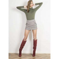 Swetry damskie: Khaki Golf Basic z Koronkową Wypustką