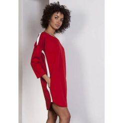 Czerwona Luźna Sportowa Mini Sukienka z Lampasami. Czerwone sukienki mini marki House, l, z napisami, sportowe, sportowe. Za 168,90 zł.