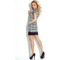Amelia Sukienka z kieszonkami - drobna kratka szaro-czarna. Niebieskie sukienki na komunię marki numoco, na imprezę, s, w kwiaty, z jeansu, sportowe, sportowe. Za 129,99 zł.