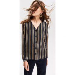 Koszula w paski - Wielobarwn. Szare koszule wiązane damskie Reserved, w paski. Za 99,99 zł.