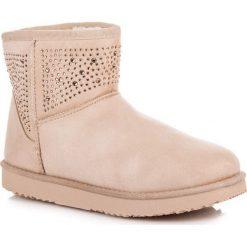 Buty zimowe damskie: Beżowe śniegowce SKYLA