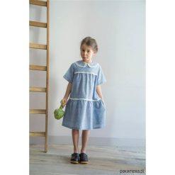 NATALIE Sukienka z 3 falban. Niebieskie sukienki dziewczęce z falbanami Pakamera, z bawełny, retro, z krótkim rękawem, krótkie. Za 169,00 zł.
