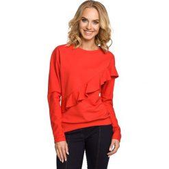 Bluzy sportowe damskie: Czerwona Bluza Sportowa z Asymetryczną Falbanką