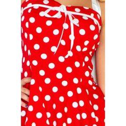 Federica Sukienka - CZERWONA w białe kropki - BEZ GORSETU Z. Czerwone sukienki numoco, w grochy, z gorsetem, gorsetowe. Za 159,99 zł.