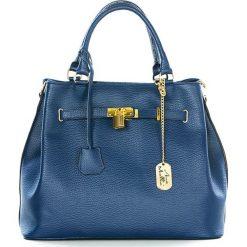 Torebki klasyczne damskie: Skórzana torebka w kolorze niebieskim – 35 x 28 x 17 cm