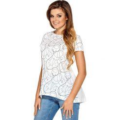 Damska koszulka Bibiana. Szare bluzki wizytowe marki Astratex, z nadrukiem, z tkaniny, eleganckie, z dekoltem na plecach. Za 73,99 zł.