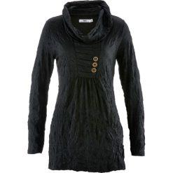 Tunika kreszowana, długi rękaw bonprix czarny. Czarne tuniki damskie z długim rękawem bonprix. Za 89,99 zł.