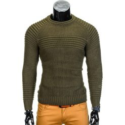 SWETER MĘSKI E96 - KHAKI. Brązowe swetry klasyczne męskie marki Inny, m. Za 49,00 zł.