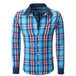Koszule męskie na spinki: YNS Koszula Męska w Kratę Granatowa  r. S