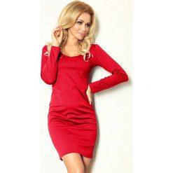 Sukienki: Czerwona Sukienka Dopasowana z Długim Rękawem