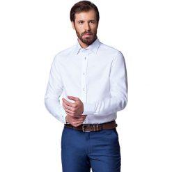 Koszula Biała Almeria Slim. Białe koszule męskie na spinki LANCERTO, m, w kolorowe wzory, z bawełny, z kontrastowym kołnierzykiem. Za 299,90 zł.