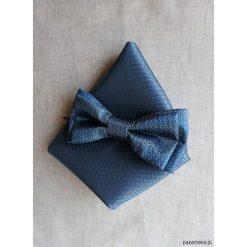 Muchy męskie: MUCHA niebieska z Poszetką w Opakowaniu