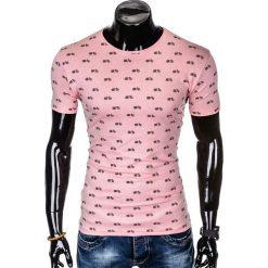 T-SHIRT MĘSKI Z NADRUKIEM S1004 - PUDROWY RÓŻ. Czerwone t-shirty męskie z nadrukiem Ombre Clothing, m. Za 35,00 zł.