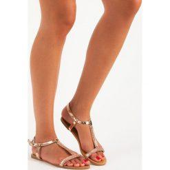 Rzymianki damskie: Lakierowane płaskie sandałki ABLOOM różowe