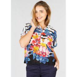 Bluzki asymetryczne: Koszulowa bluzka z kołnierzykiem polo i krótkim rękawem