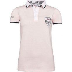"""Bluzki damskie: Koszulka polo """"Palms"""" w kolorze jasnoróżowym"""