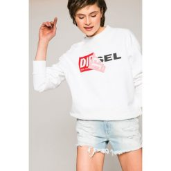 Diesel - Bluza. Szare bluzy z nadrukiem damskie Diesel, l, z bawełny, bez kaptura. W wyprzedaży za 399,90 zł.