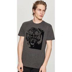 T-shirty męskie: T-shirt z nadrukiem lub aplikacją – Szary