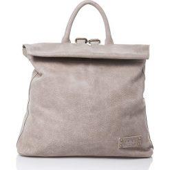 Plecaki damskie: Skórzany plecak w kolorze beżowym - 30 x 38 x 15 cm