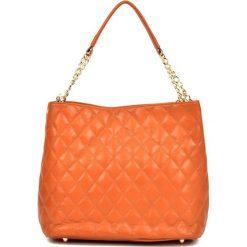 Torebki klasyczne damskie: Skórzana torebka w kolorze pomarańczowym - (S)28 x (W)35 x (G)17 cm