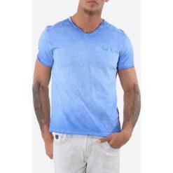T-shirty męskie: T-shirt gładki, dekolt w serek, krótki rękaw