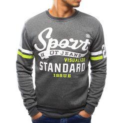 Bluzy męskie: Bluza męska bez kaptura z nadrukiem antracytowa (bx3051)