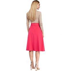 BELLA Spódnica midi z zakładkami i kieszeniami - różowa. Czerwone spódnice wieczorowe Moe, midi, rozkloszowane. Za 109,99 zł.