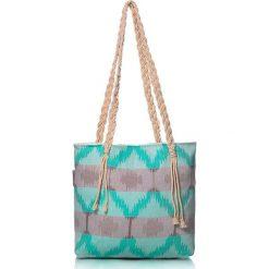 """Torba plażowa """"Ripple"""" w kolorze turkusowo-brązowym - 40 x 50 cm. Brązowe shopper bag damskie Begonville, z bawełny. W wyprzedaży za 108,95 zł."""
