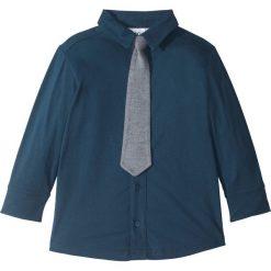 Koszula z dżerseju (2 części) bonprix ciemnoniebiesko-szary melanż z krawatem. Czarne bluzki dziewczęce z długim rękawem marki bonprix, w paski, z dresówki. Za 27,99 zł.