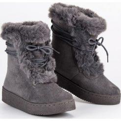 Buty zimowe damskie: SZARE WIĄZANE ŚNIEGOWCE