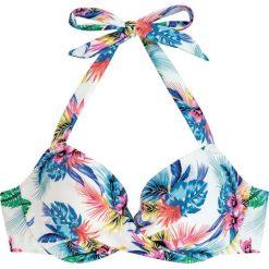 """Biustonosz bikini """"Fiji"""" w kolorze białym ze wzorem. Białe bikini Dorina. W wyprzedaży za 34,95 zł."""