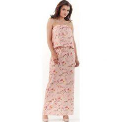 Różowa Długa Sukienka w Kwiatki z Odkrytymi Ramionami. Czerwone długie sukienki Molly.pl, l, w kwiaty, z tkaniny, z długim rękawem, proste. Za 128,90 zł.