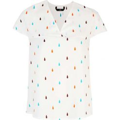 Bluzka z Dekoltem V z Mini Rękawkiem - Łezki. Białe bluzki na imprezę marki Molly.pl, l, z jeansu, klasyczne, dekolt w kształcie v, z krótkim rękawem. Za 108,90 zł.