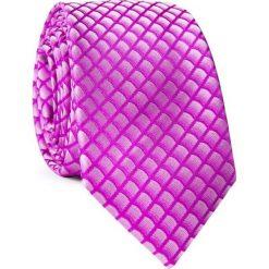 Krawat  KWRR001759. Fioletowe krawaty męskie Giacomo Conti, w geometryczne wzory, z mikrofibry. Za 69,00 zł.