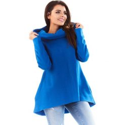 Bluzy damskie: Niebieska Bluza Asymetryczna z Kapturem