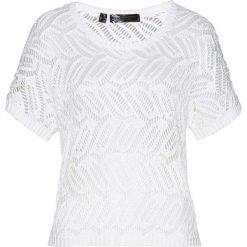 Sweter ażurowy bonprix biały. Białe swetry klasyczne damskie bonprix, z dzianiny. Za 44,99 zł.