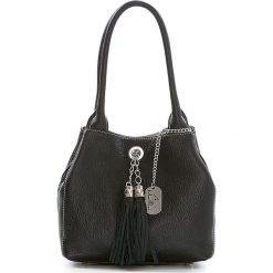 Torebki klasyczne damskie: Skórzana torebka w kolorze czarnym – 23 x 18 x 10 cm