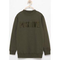 Bluzy chłopięce rozpinane: Bluza z napisem positive - Khaki