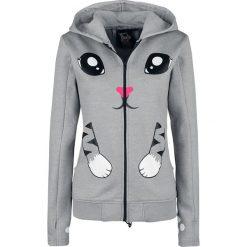 Innocent Kitty Paw Hood Bluza z kapturem rozpinana damska szary. Szare bluzy rozpinane damskie Innocent, s, z aplikacjami, z materiału, z kapturem. Za 199,90 zł.