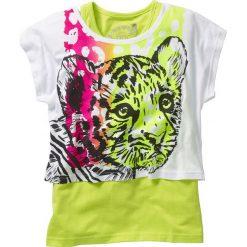 """Shirt """"boxy"""" + top (2 części) bonprix biało-zielony kiwi tygrys. Brązowe bluzki dziewczęce marki SOLOGNAC, z bawełny. Za 44,99 zł."""