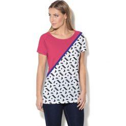Colour Pleasure Koszulka damska CP-034  25 różowo-biało-czarna r. XXXL-XXXXL. Białe bluzki damskie Colour pleasure. Za 70,35 zł.