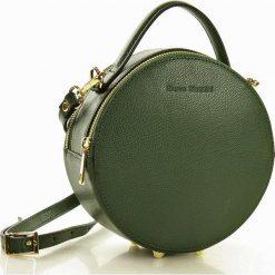 PAOLA Torebka skórzana round bag  MARCO MAZZINI zielona. Zielone kuferki damskie MAZZINI, w geometryczne wzory, ze skóry. Za 229,00 zł.
