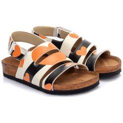 Sandały damskie: Sandały w kolorze beżowo-pomarańczowo-czarnym