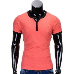 T-SHIRT MĘSKI BEZ NADRUKU S651 - KORALOWY. Pomarańczowe t-shirty męskie z nadrukiem Ombre Clothing, m. Za 29,00 zł.