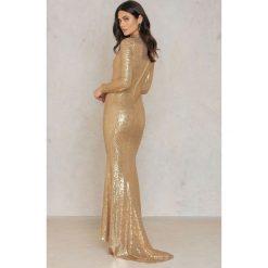 Długie sukienki: Rebecca Stella Sukienka Złota Cekinowa Maxi - Gold