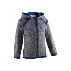 Bluza na zamek Gym & Pilates S500 dla maluchów. Szare bluzy niemowlęce marki DOMYOS, z elastanu, z kapturem. Za 44,99 zł.