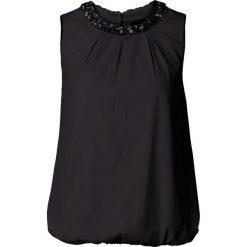 Bluzka bonprix czarny. Czarne bluzki asymetryczne bonprix, eleganckie. Za 99,99 zł.